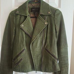 BCBG Army Green Leather Jacket